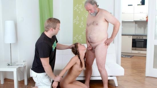 OldGoesYoung - Anna - Naughty young girl with pigtails cheats her boyfriend with an old man when he comes home (FullHD/1080p/1.34 GB)