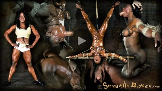 SexuallyBroken - Ashley Starr - Professional Body Builder, bound, oiled, hung upside down, throat fucked, made to cum! (HD/720p/1.39 GB)