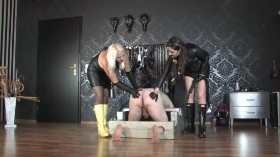 GermanFemdomLadyVictoriaValente - Divine Mistress Heather And Victoria Valente - Whipping The Slave Ass In Leather And Hunter Wellingtons Boots (HD/720p/128 MB)