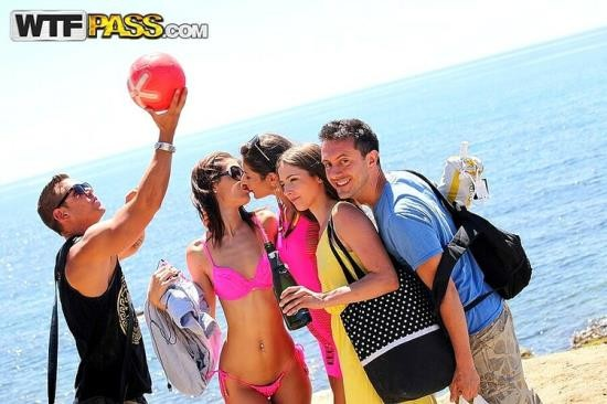 StudentSexParties/WTFPass - Agnessa, Carla, Leila - Real Sex Party On The Sunny Beach, Part 2 (HD/720p/789 MB)