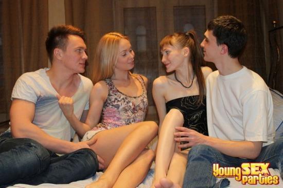 YoungSexParties - Nika, Elena, Brian, Mark - Teen swingers fuck together (HD/720p/624 MB)