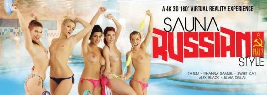 """VRBangers - Alex Black, Kattie Gold, Rihanna Samuel, Silvia Dellai, Sweet Cat - Sauna """"Russian Style"""" (part 2) (UltraHD 2K/1920p/4.86 GB)"""