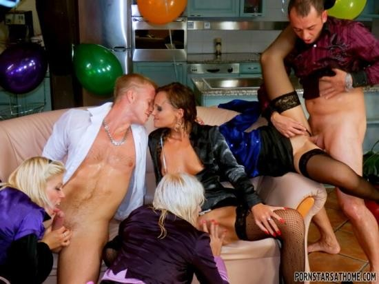 PissingInAction/Tainster - Eliss Fire, Ferrera Gomez, Sweet Cat, Bella Morgan - Piss And Booze Birthday Showers Part 2 (HD/720p/1.03 GB)
