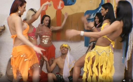 Tranny/TrannyGangbanged - Unknown - Six Gorgeous Belly Dancing Trannies VS. One Lucky Guy (HD/720p/1005 MB)